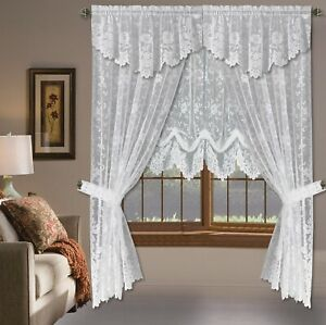 Shabby Chic Floral Lace Window Curtain Panels Balloon Curtains Separate Valances