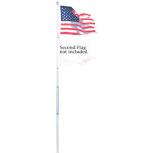20' Aluminum Telescoping Dual Flag Pole Outdoor American Flag 3 x 5