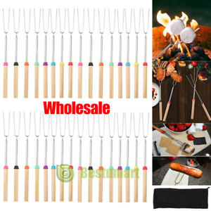 Lot 32'' Telescoping BBQ Barbecue Forks Marshmallow Roasting Sticks Smoke Skewer