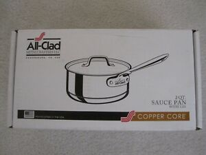 New In Box All Clad Stainless Steel Copper Core 2 Quart Sauce Pan with Lid