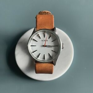 RARE Nixon Sentry Leather Watch 38mm with Tanner Goods Leather Strap Silver Tan