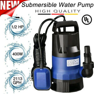 1 2 HP Submersible Water Pump,Garden Backyard Pool Pond Flood Drain 2100GPH US