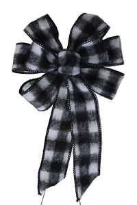 Small 5 6quot; Hand Made White amp; Black Buffalo Plaid Wired Christmas Bow Wreath