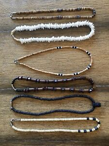 Lot of 6 Surfer Necklaces Puka Shell, Stone, Bead, Pendant, Wood
