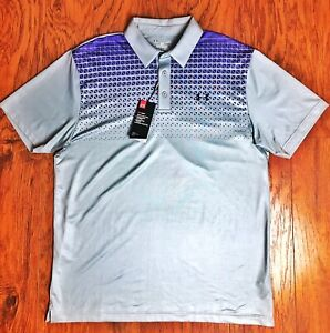 UNDER ARMOUR MENS LOOSE FIT HEAT GEAR LIGHT GRAY POLO GOLF SHIRT Large L $39.99