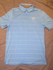 Men's UNDER ARMOUR Polo Style Shirt Small Blue w Yellow Stripes Loose Fit $0.99