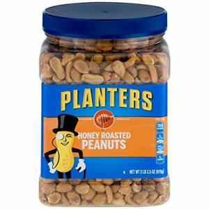 PLANTERS Honey Roasted Peanuts, 34.5 oz. Resealable Jars (Pack of 2) - Premium