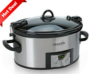 6-Quart Programmable Slow Cooker with Digital Timer, Stainless Steel