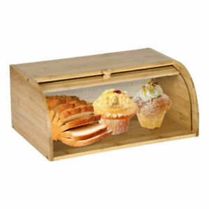 Betwoo Natural Wooden Roll Top Bread Box Bamboo Kitchen Food Storage USA