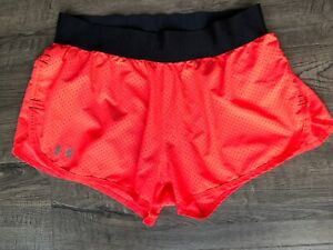 Women's Under Armour Running Shorts Neon Pink Semi fitted HeatGear Size Small $6.90