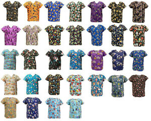 Women#x27;s Fashion Halloween Christmas Holiday Medical Nursing Scrub Tops S to 3XL