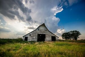 Country Farmhouse Art Print of Rustic White Barn Under Storm Clouds in Oklahoma $350.00