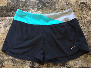 Woman's Nike Dri Fit Running Shorts Small Turquoise Silver Black $10.00