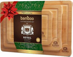 Organic Bamboo Cutting Board Juice Groove 3 Piece Set Suitable Kitchen New