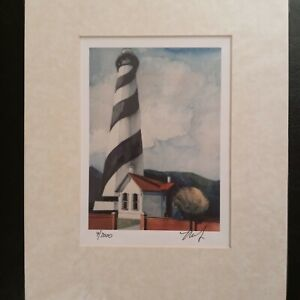 St. Augustine Lighthouse Signed Watercolor Painting Michael Frey 9 2000 $37.00