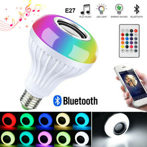 E27 Wireless Bluetooth Smart Light Bulb Speaker LED RGB White Music Play Remote