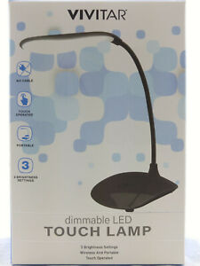 LED TOUCH DESK LAMP READING LIGHT WIRELESS BATTERY OP ADJUSTABLE DIMMABLE TRAVEL