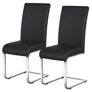 Dining Chairs PU Leather Modern Dining Room Chairs Metal Home Kitchen Black 2PCS $98.99