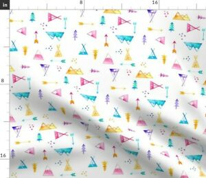 Nursery Watercolor Baby Boy Camping Watercolour Spoonflower Fabric by the Yard