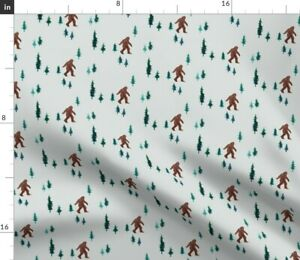 Bigfoot Forest Small Camping Pine Trees Kids Wild Spoonflower Fabric by the Yard