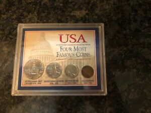 USA four most famous coins Collector Case Nice Item $14.00