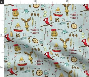 Bird Moose Adventure Camping Woodland Fish Spoonflower Fabric by the Yard