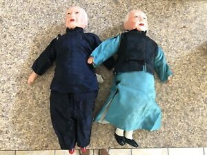 "Chinese Dolls. Set Of 2 . Vintage 1930s 7"" $55.00"