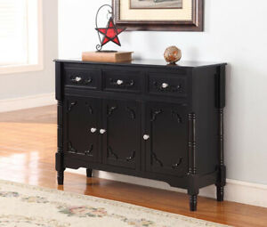 Kings Brand Furniture Black Finish Wood Console Sideboard Table with Storage