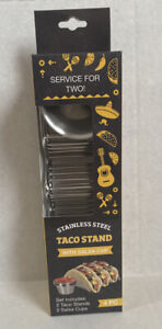 Box of 2 Taco Holders with Salsa Guacamole Cups Premium Stainless Steel New
