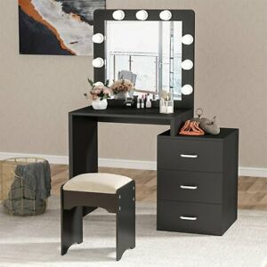 Women Makeup Dressing Table with Mirroramp;3 Drawers Modern Vanity Set with 9 Bulbs