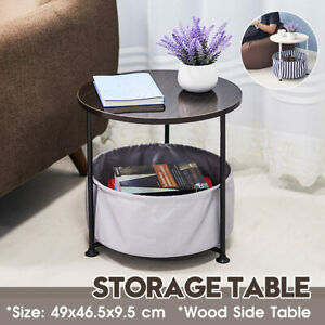 Sofa Side End Table Bedside Table Nightstand Coffee Tray Desk w Washable Storage