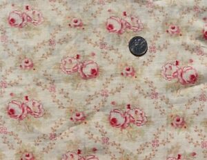 2 Pieces Of Vintage French Rose Floral Cotton Fabrics c1910 1940