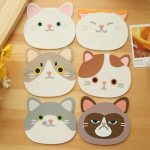 Cartoon Cute Cat Silicone Coaster Cup Cushion Holder Drink Placemat Tea Mat