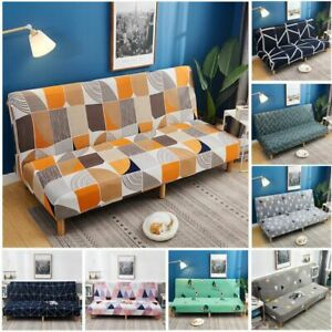 Printed Stretch Sofa Bed Cover Folding Armless Elastic Slipcover For Living Room