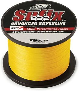 Sufix 832 Advanced Superline Braid 1200 Yds. Fishing Line Yellow Pick Line Class