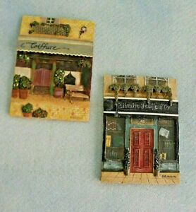 2 Wall Plaques 3D Art French Theme Store Fronts Coiffure amp; Libraire Signed