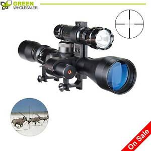 Hunting Sniper Rifle Tactical Optics Scope 3 9X40 with Laser Torch Red Pinty