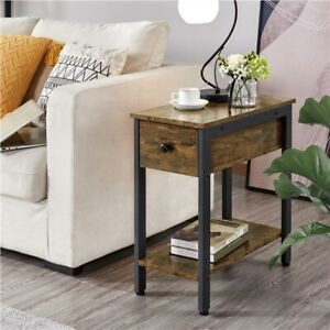 Narrow Side Table 2 Tier End Table with Drawer Shelf Nightstand with Storage