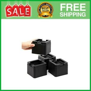 Stackable Bed and Furniture Risers 3 Inch Heavy Duty Black Square Anti Slip