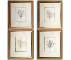LOT of 4 Vintage Mary Lou Goertzen Framed and Matted Botanical Prints 14quot;x12quot; $150.00