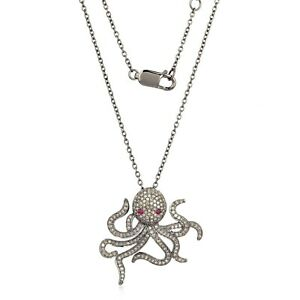 Natural Ruby Gemstone Octopus Eyes Pave Diamond Pendant Necklace Silver Jewelry