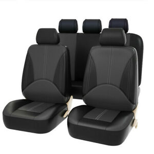 PU Leather Car Seat Covers 9 Pieces Front amp; Rear Full Interior Accessories