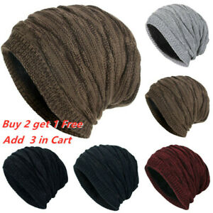 Mens Womens Skull Solid Knitted Beanie Hats Winter Warm Ski Baggy Slouchy Caps $12.44