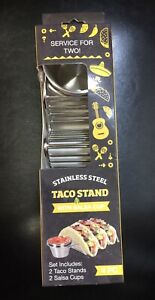 New Box of 2 Taco Holders with Salsa Guacamole Cups Premium Stainless Steel