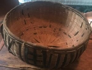 Antique Basket Woven Leather Edging And Leather In Design 14quot; Diameter 7quot; Deep $25.00