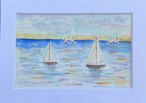 Watercolor Small Painting Seascape Sailing Sailboats Signed Matted 5quot; x 7quot; $6.00