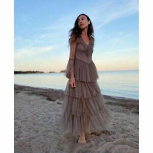 Hamp;M x Sandra Mansour Designer Long Tulle Dress TAUPE SOLD OUT Muti Sizes