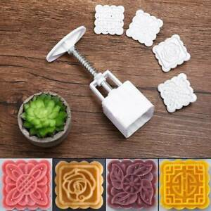 4 Flower Stamp 50g Square Moon Cake Mold Pastry Mooncake Mould DIY Baking Tool