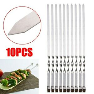 10X BBQ Barbecue Stick Steel Roasting Grilling Kebab Meat Flat Skewers Needle US