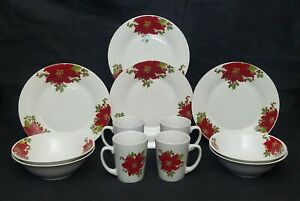 Gibson Home Noble Poinsettia 12 Piece Dinnerware Set Plates Bowls Cups